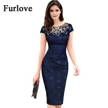 Elegant Summer Dress Women Vintage Floral Embroidery Short Sleeve Knee Slim Bodycon Pencil Sheath Evening Party Dresses vestidos