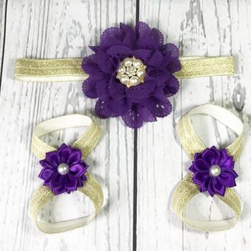 Purple and Gold Headband and Barefoot Sandals Set