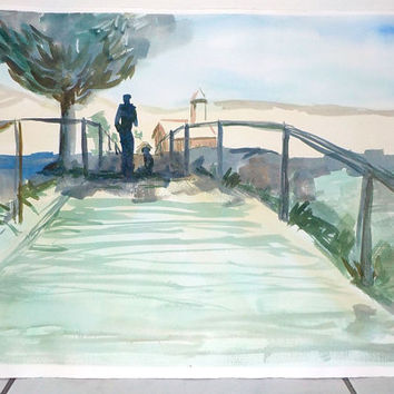 """Landscape watercolor painting 20"""" x 15"""" large size painting ideal for Desk Art or wall Art. Soft sunset sky,"""