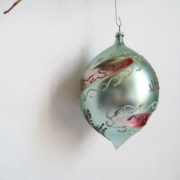 Large Vintage Christmas Ornament West Germany Hand blown Ornament Mercury Glass Christmas Tree Hand Painted glass Ball