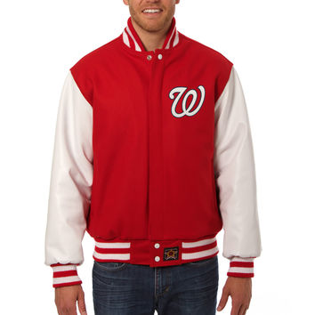 Washington Nationals Wool And Leather Varsity Jacket