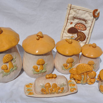 Vintage Merry Mushroom Canister Set, Napkin Holder, Butter Dish, Sugar by Arnel's Retro