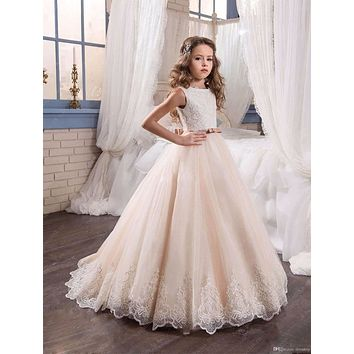2017 Lovely Lace Appliques Flower Girl Dresses Special Occasion For Weddings Tulle Kids Pageant Gowns Holy Communion Dress