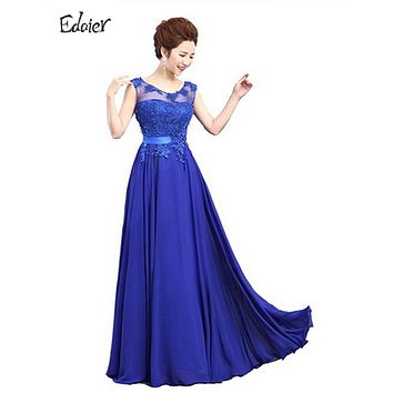 Elegant Long Evening Dresses 2017 Robe Edaier Lace Chiffon Sleeveless Applique Open Back Royal Formal Dress Party Gowns