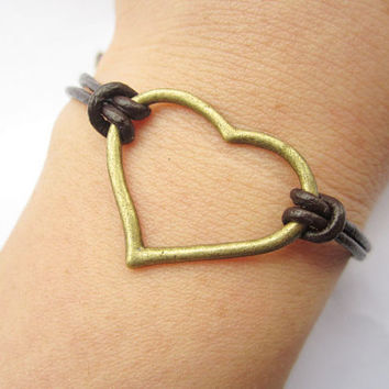 Lover Bracelet---antique bronze love heart pendant & brown leather chain