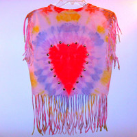 Tie Dye Studded Heart Fringe T Shirt by CheetahnotCougar on Etsy