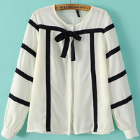White Striped Bow Cuff Sleeve Blouse