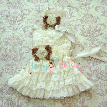 Rustic Flower girls dress/  Ivory Butterfly Girl's Lace Dress set