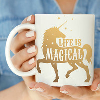 Gold 'Life Is Magical' Unicorn Mug