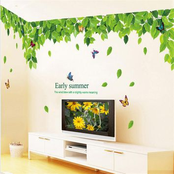 Green Leaf Leave Top Cell Fashion Vinyl Mural Decal Wall Sticker stickers poster for kids rooms Glass Window Living Room Home