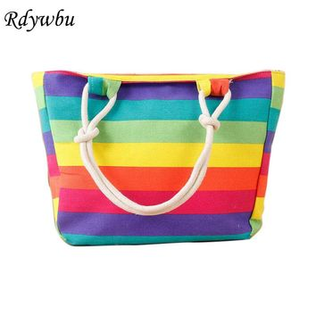 Rdywbu Women's Striped Colorful Rainbow Canvas Handbag 2017 Summer Bohemia Shopping Beach Bag Big Travel Shoulder Tote Bag B351
