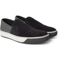 Lanvin - Suede and Textured-Leather Slip-On Sneakers | MR PORTER