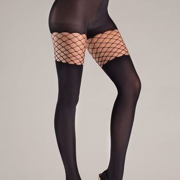 Opaque Pantyhose with Diamond Net top