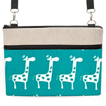 "Laptop Cover with Strap, 13"" MacBook Pro Crossbody, 11 MacBook Air Sleeve, Fabric 13 NoteBook Zipper Case - white giraffes in turquoise teal"