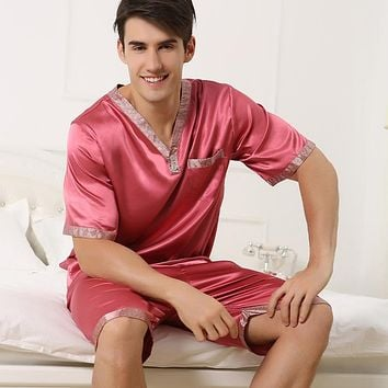 Summer men's silk pajamas short sleeved v neck pyjamas twinset with shorts thin plus size mens sleepwear XXXL XXXXL loungewear