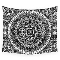 "Society6 Black And White Mandala Pattern Wall Tapestry Small: 51"" x 60"""