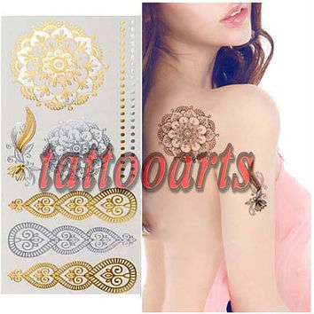 Metallic gold and silver flash temporary tattoo with henna paisley flower design  body art foil sticker #9749
