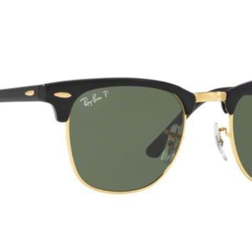 Polarized CLUBMASTER Ray-Ban Sunglasses RB 3016 901/58 49-21 Black-Gold w/ Green