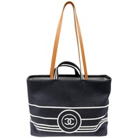 Chanel Black Canvas Classic Summer Tote Bag