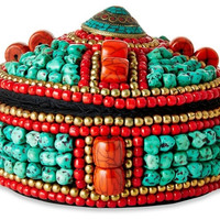 Turquoise and Red BEADED BOX