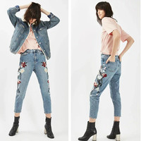 Fashion Multicolor Floral Embroidery High Waist Straight Denim Pants Long Jeans