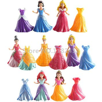 Rapunzel Little Mermaid Ariel Snow White Cinderella Tiana Belle Princess MagiClip Easy Dress 7 Dolls 14 Dresses Figures Play Set