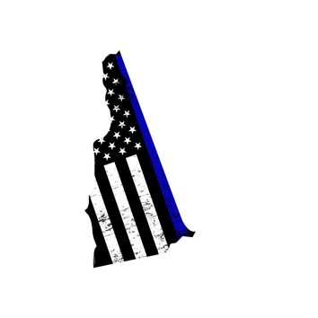 New Hampshire Distressed Subdued US Flag Thin Blue Line/Thin Red Line/Thin Green Line Sticker. Support Police/Firefighters/Military