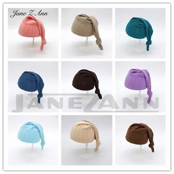 Jane Z Ann Newborn Photography Accessories Baby Sleeping Knot Hat Soft Comfortable Baby Photo Props Infant Shooting Outfits