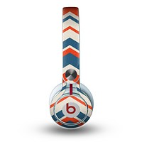 The Red, White and Blue Textile Chevron Pattern Skin for the Beats by Dre Mixr Headphones