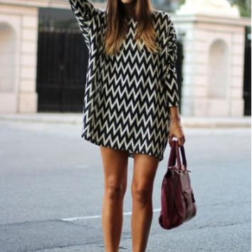 Wave Print Chiffon Loose Dress