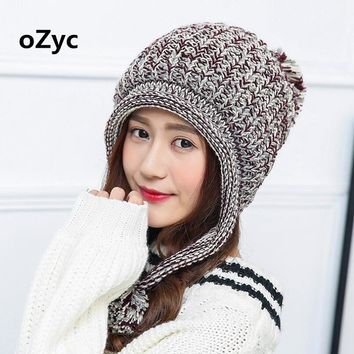 Fashion Cute Women's Thick Cable Multicolor Handmade Knit Beanie Ear Muff Warm Hat with Soft Pom Pom  Skullies Grils Beanies