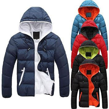 New Fashion Men's Winter Warm Jacket Hooded Slim Casual Coat Cotton-padded Jacket Parka Overcoat Hoodie Thick Coat