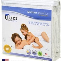 King Size Luna Premium Hypoallergenic Waterproof Mattress Protector - Made in the USA - Vinyl Free