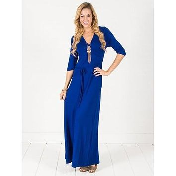 Wrap Maxi Dress - Royal Blue - Royal Blue - S