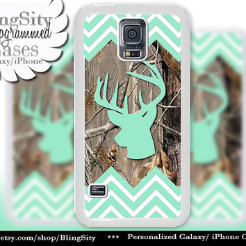 Buckhead Antlers Galaxy S4 case S5 Mint Green Chevron Stripes Real Tree Camo Deer Monogram Galaxy S3 Case Note 2 3 Cover Zig Zag