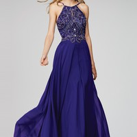 Purple Beaded Chiffon Prom Dress 92605 - Prom Dresses