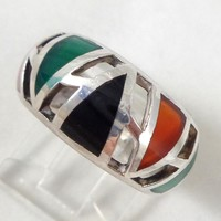 Estate Sterling Silver Geometric Tribal Onyx Carnelian Chrysoprase Ring Size 6