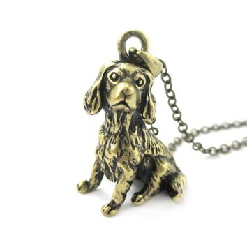 Realistic King Charles Spaniel Shaped Animal Pendant Necklace in Brass | Jewelry for Dog Lovers