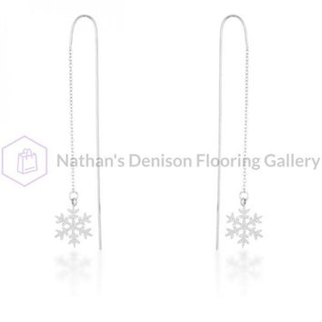 Noelle Rhodium Stainless Steel Snowflake Threaded Drop Earrings E01874R-V00
