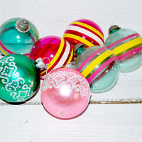 Striped Christmas Ornaments , Pink and Green , 1950 Christmas Balls