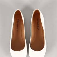 Breckelle Cherry-21 Leatherette Round Toe Ballet Flat