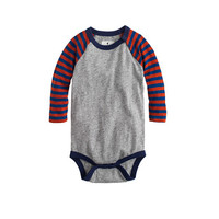 Baby Long-Sleeve Baseball One-Piece In Stripe - crewcuts