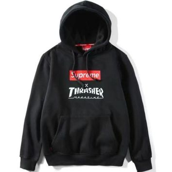 PEAPJ1A Supreme & Thrasher men and women trendy fashion short-sleeved sweater F-GQHY-DLSX Black