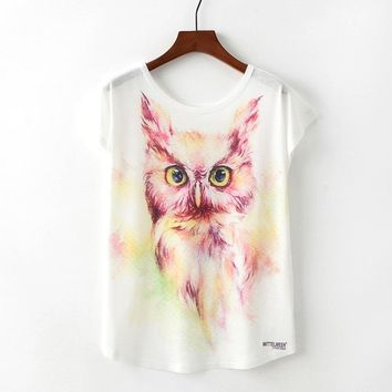 Cute Owl Watercolor Paint Loose Flowy T-Shirts