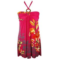 Hot Pink Tropical Floral Multi Print O-ring Halter Sun Dress