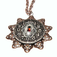 Locked time steam punk necklace