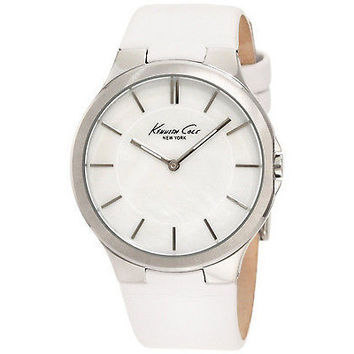 Kenneth Cole New York KC2704 Slim Round MOP Dial White Leather Thin Womens Watch