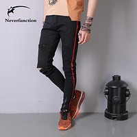 Men Hip hop Stretch Skinny Knee Holes Denim Trousers Side stripe Streetwear Ripped Cotton Ankle zipper Casual Men Biker Jeans