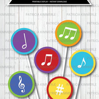 Printable Centerpeice, Music, Recital, Instrument, Music Notes, Musical, Colorful, Band, Birthday, Party Decorations, DIY,  INSTANT DOWNLOAD