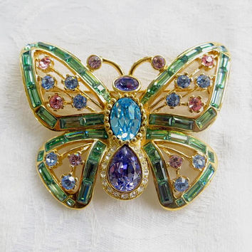 Vintage Nolan Miller Butterfly Brooch, Glamour Collection, Swarovski Crystal Stones, Butterfly Jewelry